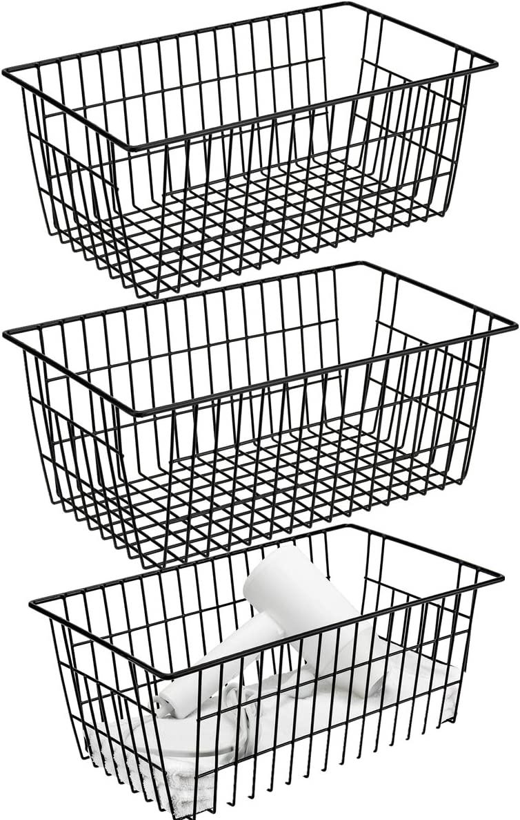 blitzlabs Wire Organizer Storage Bin Basket with Handles, Farmhouse Decor Food Storage for Kitchen Cabinets, Pantry, Closet, Bedroom, Bathroom, Office,Set of 3,Black