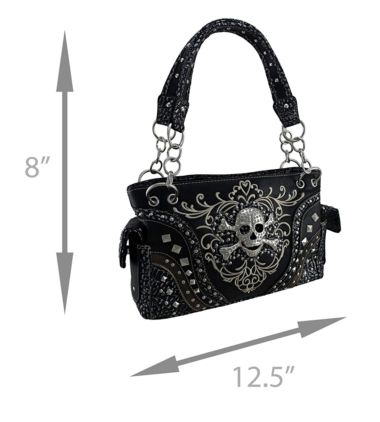 b309576c97 Embroidered Concealed Carry Rhinestone Skull Studded Purse  Handbags   Amazon.com