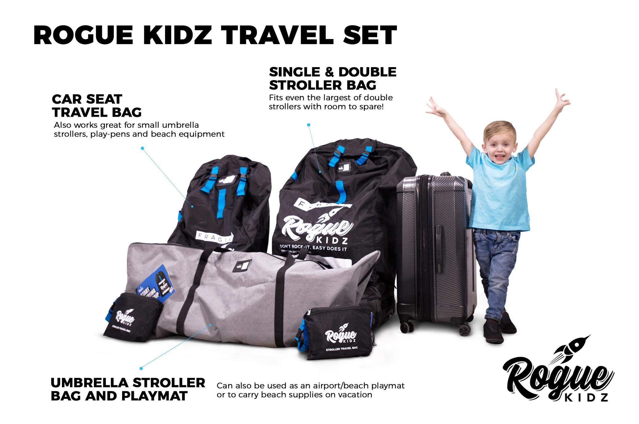 Rogue Kidz Single and Double Stroller Travel Bag For Airplane Gate Check - Durable Universal Large XL Cover With Padded Backpack Straps- Waterproof Heavy Duty Nylon Traveling Protector With Carry Case by Rogue Kidz (Image #9)