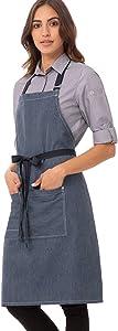 Chef Works Unisex Portland Bib Apron, Indigo Blue, One Size