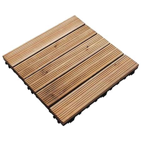 36 X Interlocking Wooden Decking Floor Tiles 30cm Sq Simply Click