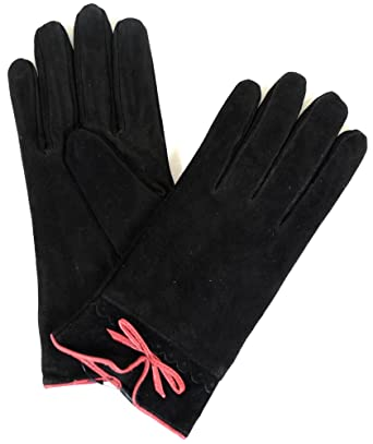 69672627a Ladies Suede Gloves with Fleece Lining and Bow Feature at Amazon Women's  Clothing store: