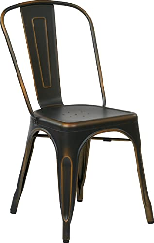 Office Star Bristow Metal Seat and Back Armless Chair, Antique Copper, 2-Pack