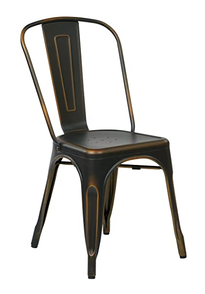 Office Star Bristow Metal Seat and Back Armless Chair, Antique Copper,  4-Pack - Amazon.com: Office Star Bristow Metal Seat And Back Armless Chair