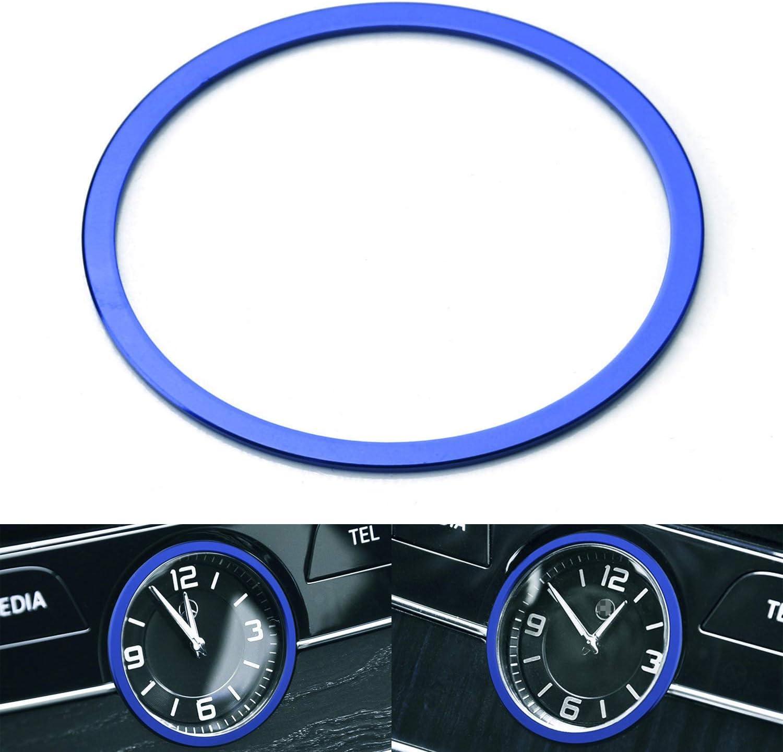 iJDMTOY 1 Blue Aluminum Interior Dashboard Clock Surrounding Decoration Ring Trim Compatible with Mercedes W205 C-Class W213 E-Class X205 GLC-Class