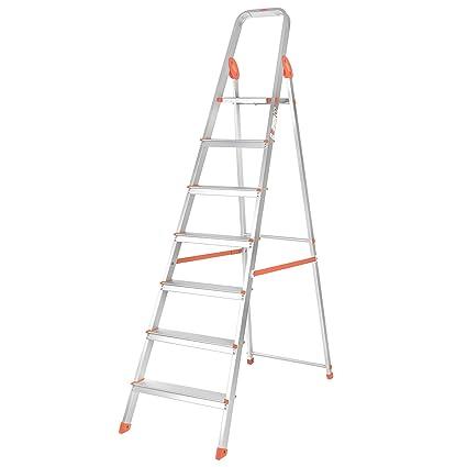 Bathla Advance 7-Step Foldable Aluminium Ladder with Sure-Hinge Technology  (Silver and Orange)