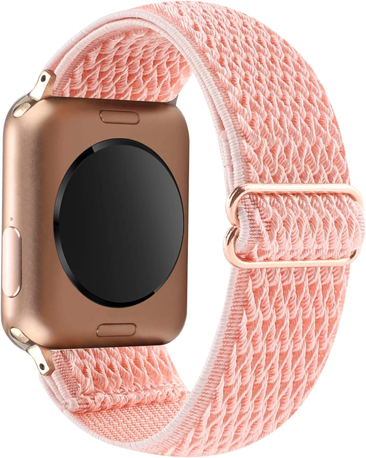 YOSWAN Stretchy Solo Loop Strap Compatible with Apple Watch Bands 38mm 40mm, Adjustable Soft Nylon Stretch Sport Elastics Women Men Wristband for iWatch Series 6/5/4/3/2/1 SE