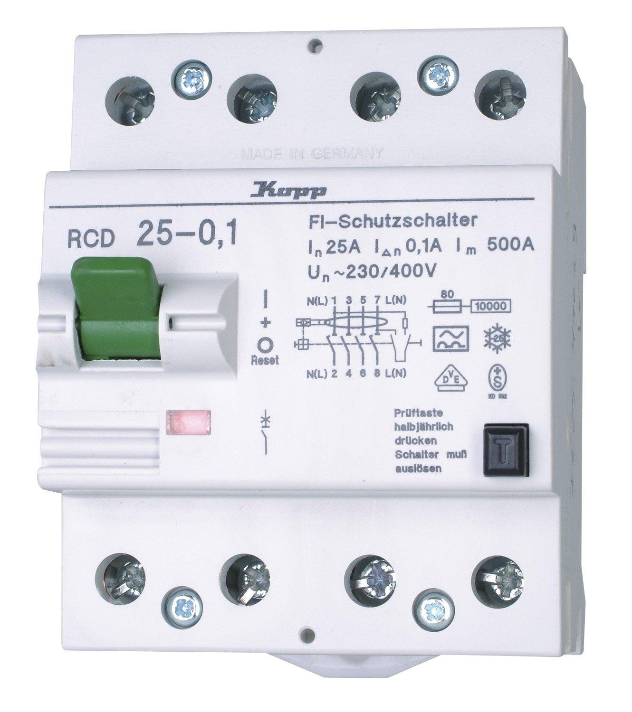 25A Kopp 752541019 Green Electric Fehlerstromschutzschalter RCD 4-polig 100mA