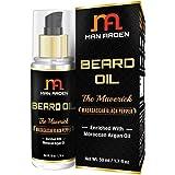 Man Arden Beard & Mustache Oil - Maverick 50ml - With Pure Moroccan Argan, Almond, Avocado Oil - No Mineral Oil, Sulphate