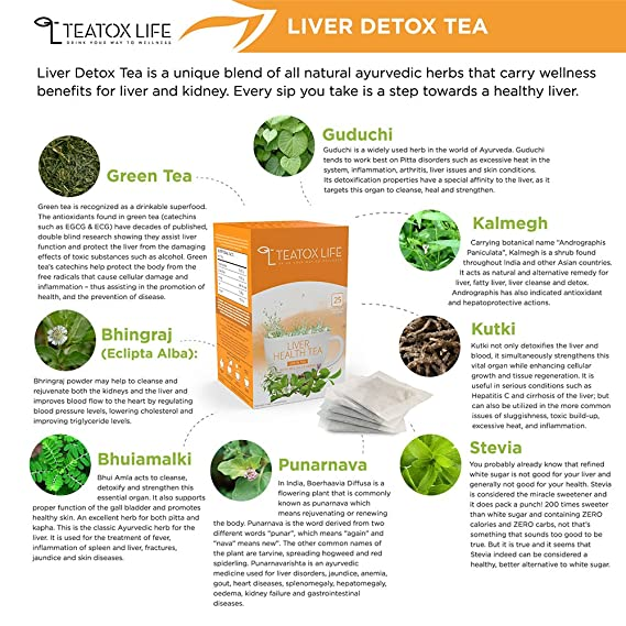 Natural Liver Detox Cleanse Tea Herbal Blend To Eliminate Toxins