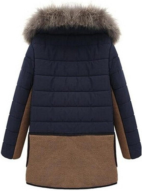 Doris Batchelor Fashion Womens Faux Fur Hooded Quilted Color Block Zip Warm Parkas Coat