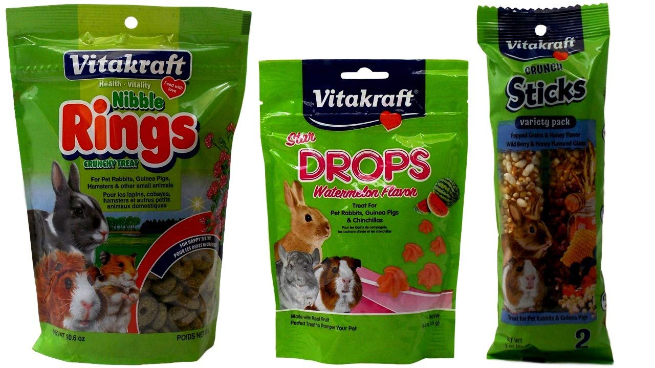 Vitakraft Small Animal Treats 3 Flavor Variety Bundle (1) Each: Nibble Rings, Star Watermelon Drops, Variety Pack Wild Berry Honey Sticks (3-10.6 Ounces)