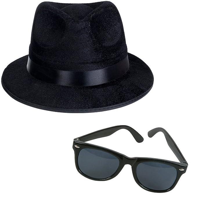 Negro Fedora Gánster Sombrero Disfraz Accesorio - Funny sombreros de fiesta  - Amarillo -  Amazon.es  Ropa y accesorios cef901e9a2f