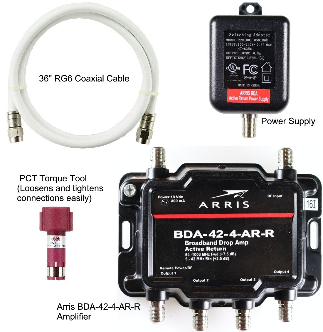 Amazon.com: Arris 4-Port Cable, Modem, TV, OTA, Satellite HDTV Amplifier Splitter Signal Booster with Active Return And Coax Cable Package - cableTVamps: ...