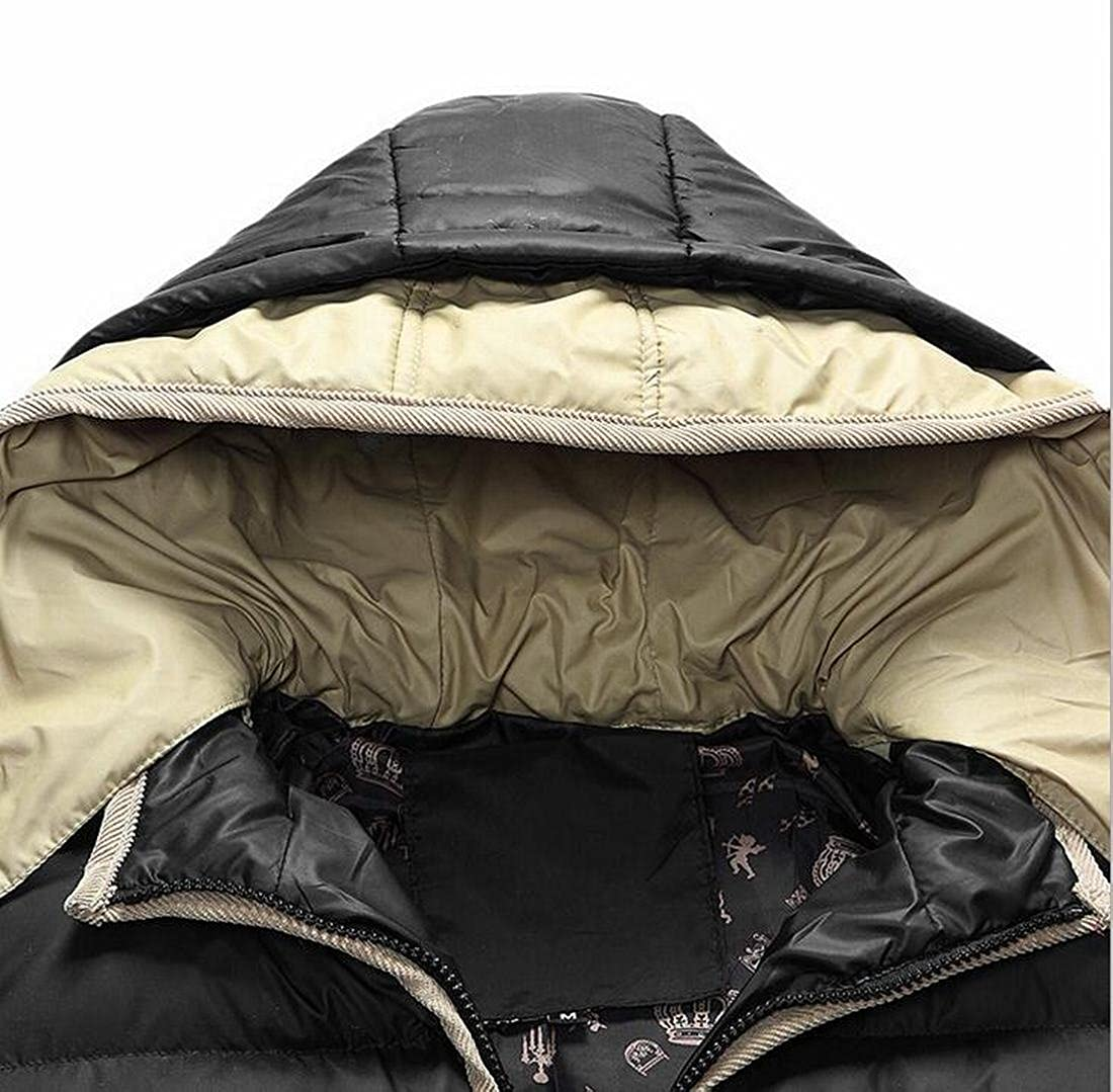 ONTBYB Mens Winter Warm Hoodie Quilted Down Jacket Coat