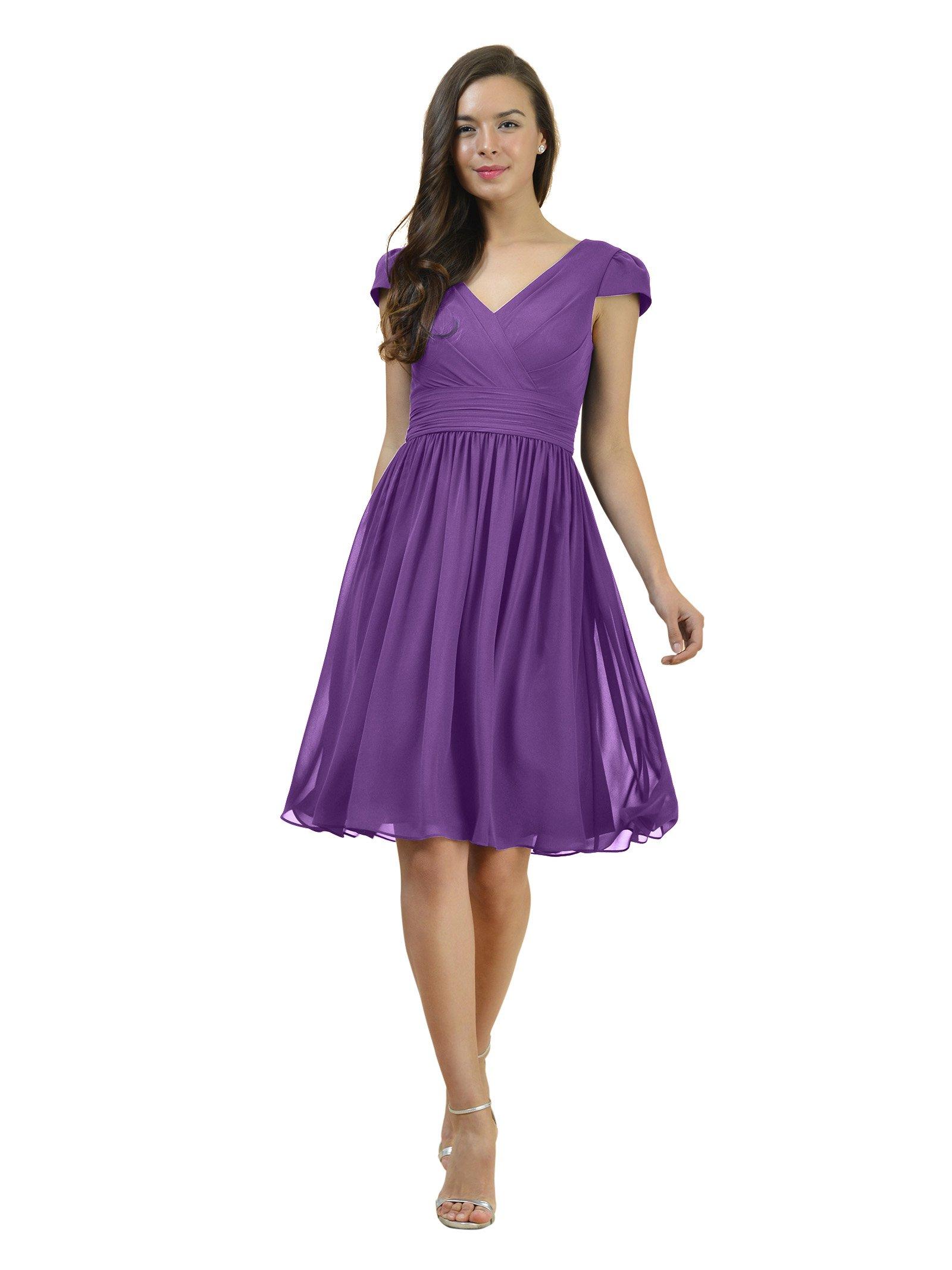 Alicepub V-Neck Chiffon Bridesmaid Dress Short Bridal Party Evening Dress Cap Sleeve, Purple, Custom Size
