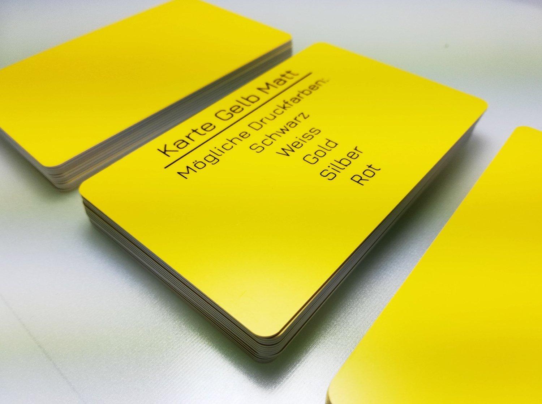 Premium Tarjetas de plástico, tarjetas de PVC PVC PVC amarillo mate  1 – 100 Unidades  en blanco vírgenes  de diseño nuevo, color amarillo opaco 85 x 54 x 0,76 mm b0169c