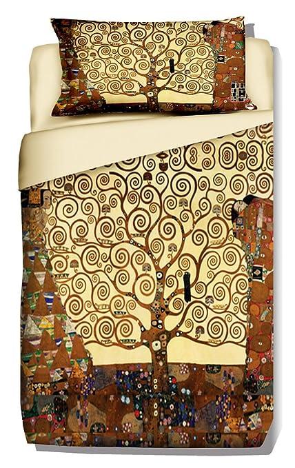 Parure Copripiumino Matrimoniale Klimt.Deco Italia Set Copripiumino Copriletto Klimt Albero Della