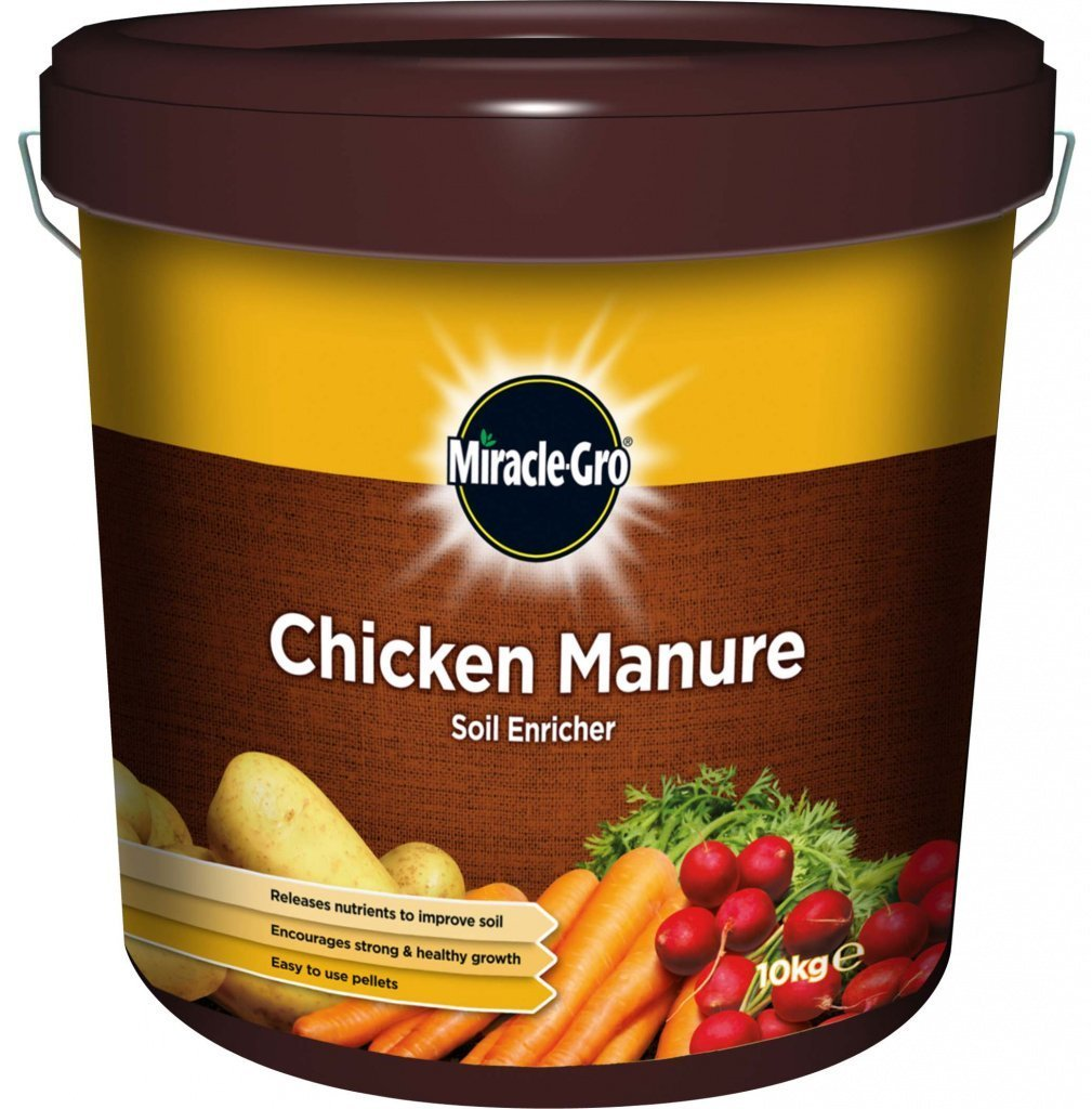 Miracle-Gro Chicken Manure Soil Enricher - 10KG Tub Easy To Use Pellets Miracle Gro