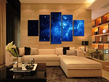 5 Panels Framed Strange Star Canvas Print Wall Art Picture Home Decoration Living Room Landscape Oil