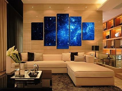 PulsatingFingertip 5 Panel Beautiful Starry Sky Modern Giclee Canvas Prints Blue Stars Canvas Oil Painting Wall & Amazon.com: PulsatingFingertip 5 Panel Beautiful Starry Sky Modern ...