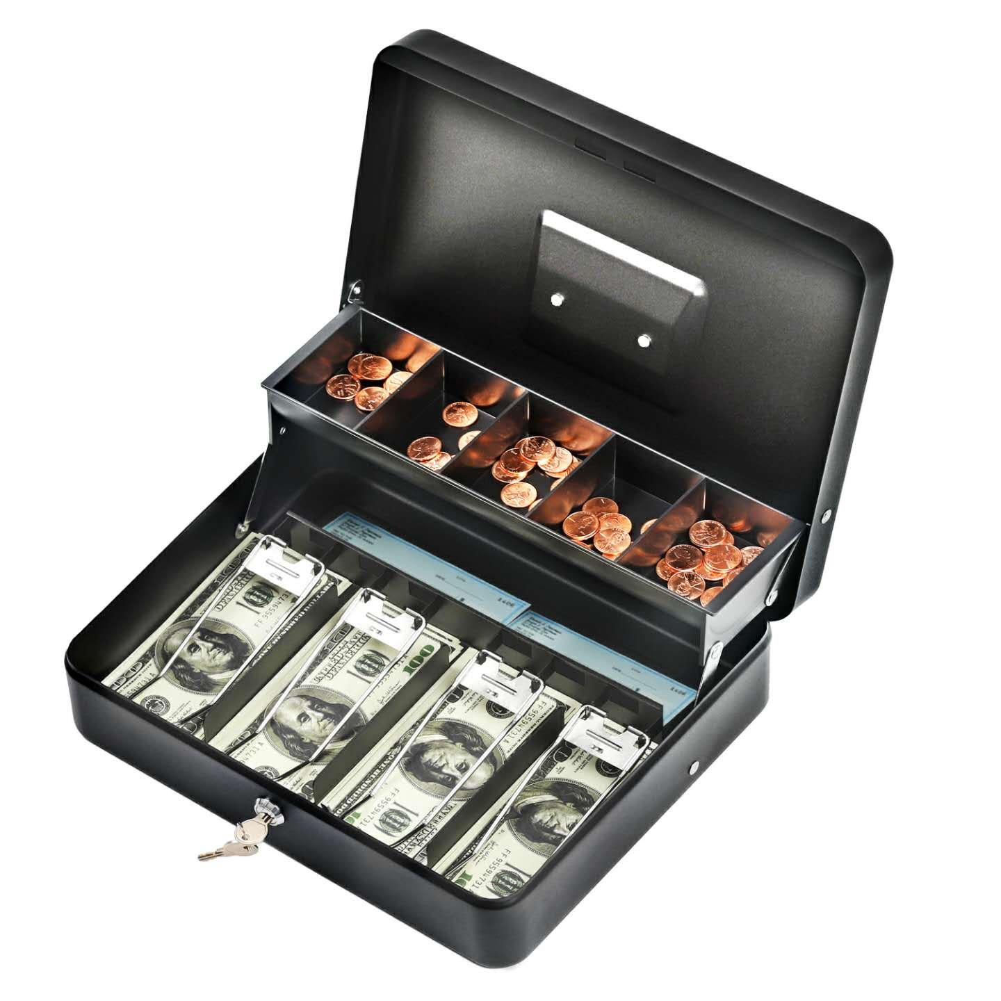 Cash Box, Cash Box with Money Tray, Durable Large Steel Cash Boxes, 5 Compartment Tray, 4 Spring-Loaded, Come with 2 Key, Black