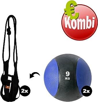 Kawanyo 2 balones medicinales + 2 medball slings Balón Medicinal Peso pesos pelota de entrenamiento de la Fuerza 2 kg 3 kg 4 kg 5 kg 6 kg 7 kg 8 kg 9 kg: Amazon.es: Deportes y aire libre