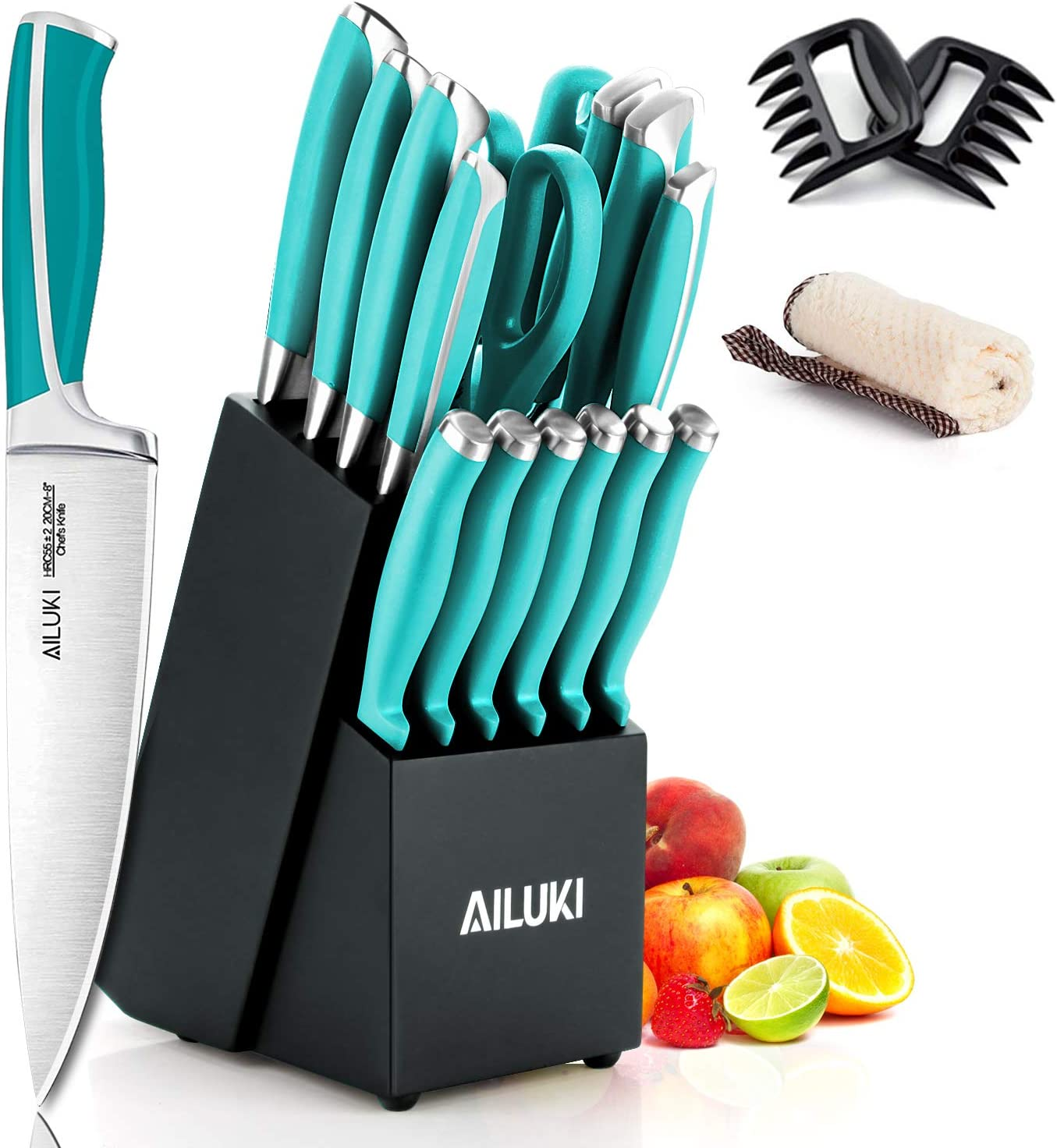 Amazon Com Knife Set 18 Piece Kitchen Knife Set With Block Wooden And Sharpener Professional High Carbon German Stainless Steel Chef Knife Set Ultra Sharp Full Tang Forged White Knives Set Blue Kitchen