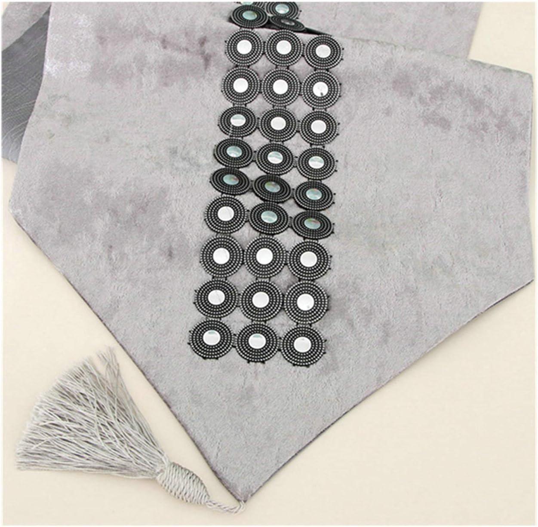 32X160 cm Aeici Chemins de Table Tissu Coins Glands Chemin de Table Velours Chemin Table Bleu