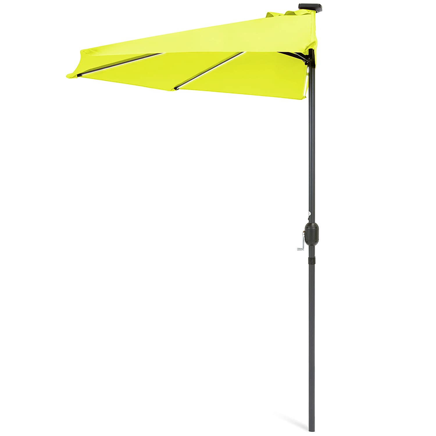 Best Choice Products 8.5ft Solar LED Strip Lighted Half Patio Umbrella – Light Green