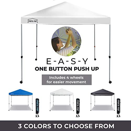 PORTA-POP One Button Easy Pop Up 10×10 ft Portable Folding Canopy Straight Leg with 4 Wheels and Deluxe Carry Bag, White
