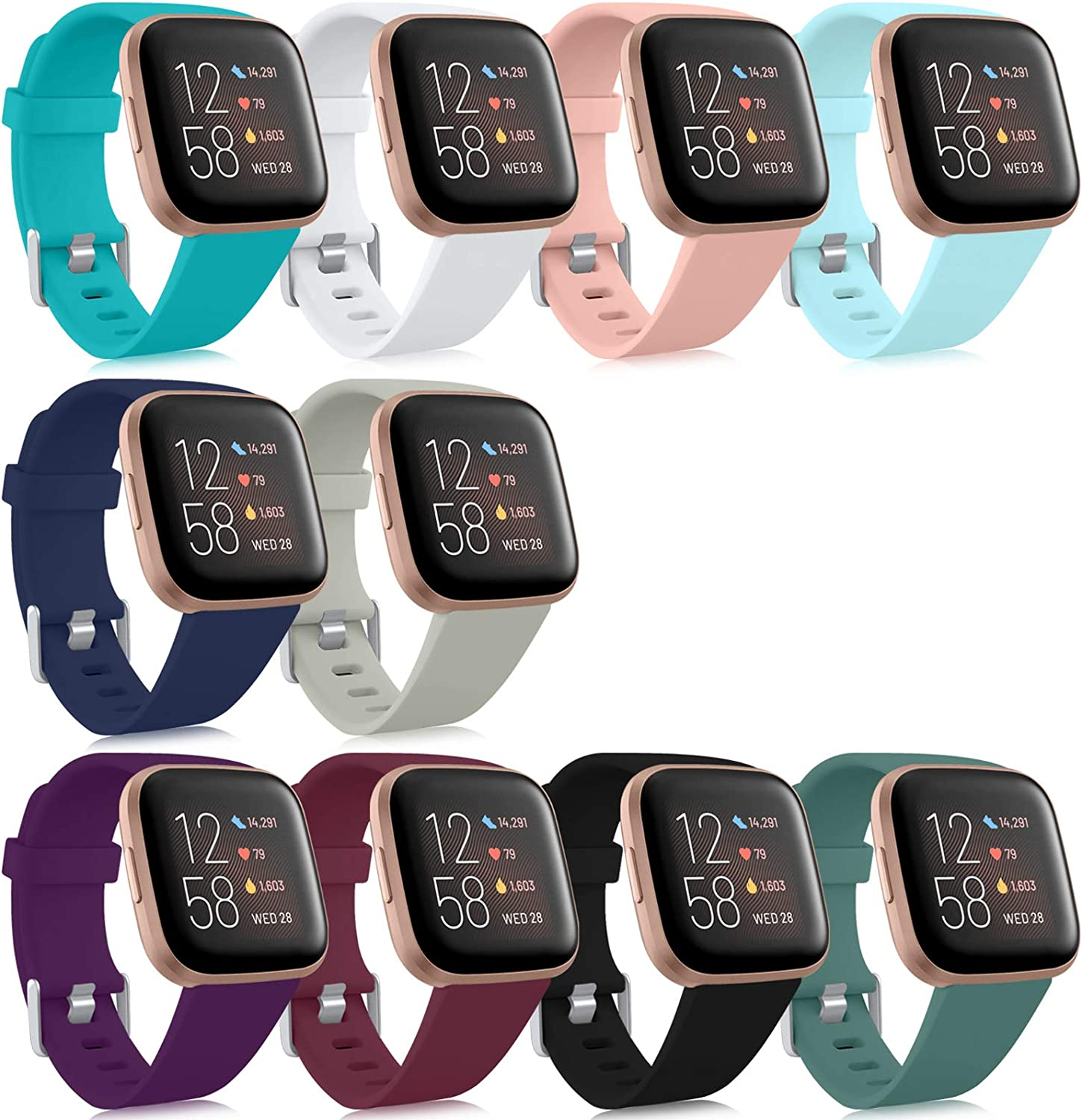 Pack 5 Silicone Bands Compatible with Fitbit Versa 2 Classic Soft Replacement Sport Wristbands Accessories for Women Men Fitbit Versa//Versa Lite//Versa SE