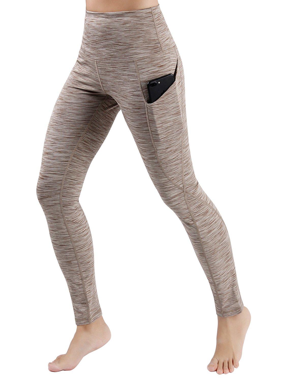 ODODOS パワー フレックス ヨガ カプリ パンツ 腹部コントロール トレーニング ランニング  4 方向ストレッチ レギンス B076GWG6R5 L|Yogapocketpants715-spacedyebrown Yogapocketpants715-spacedyebrown L