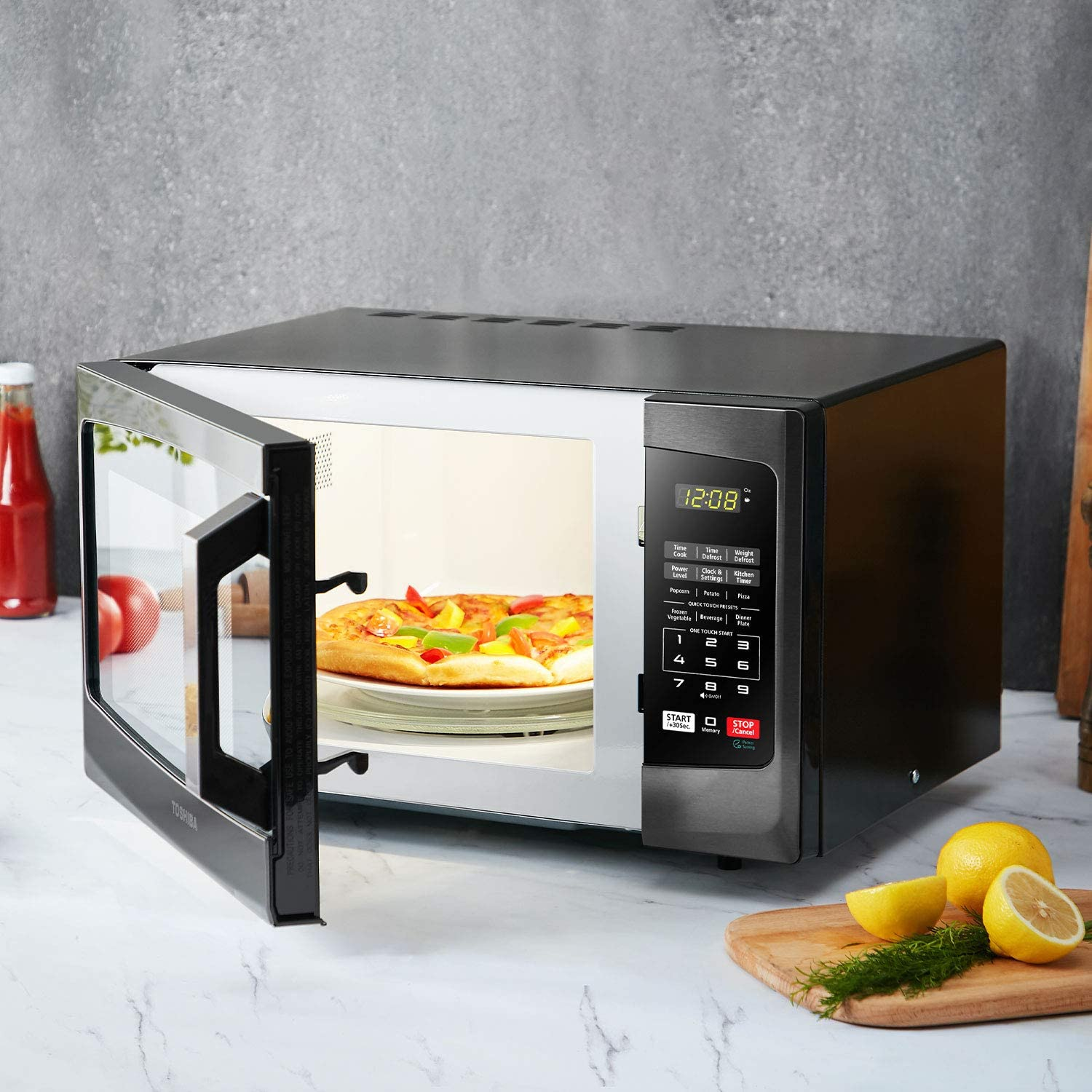 Toshiba-EM925A5A-BS-Microwave-Oven-with-Sound-On-Off-ECO-Mode-and-LED-Lighting-0.9-Cu-ft-900W-Black-Stainless-Steel