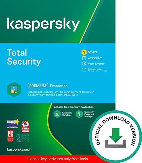 Kaspersky Total Security (Windows / Mac / Android) Latest Version - 1 User, 3 Years (Code emailed in 2 Hours - No CD) 1