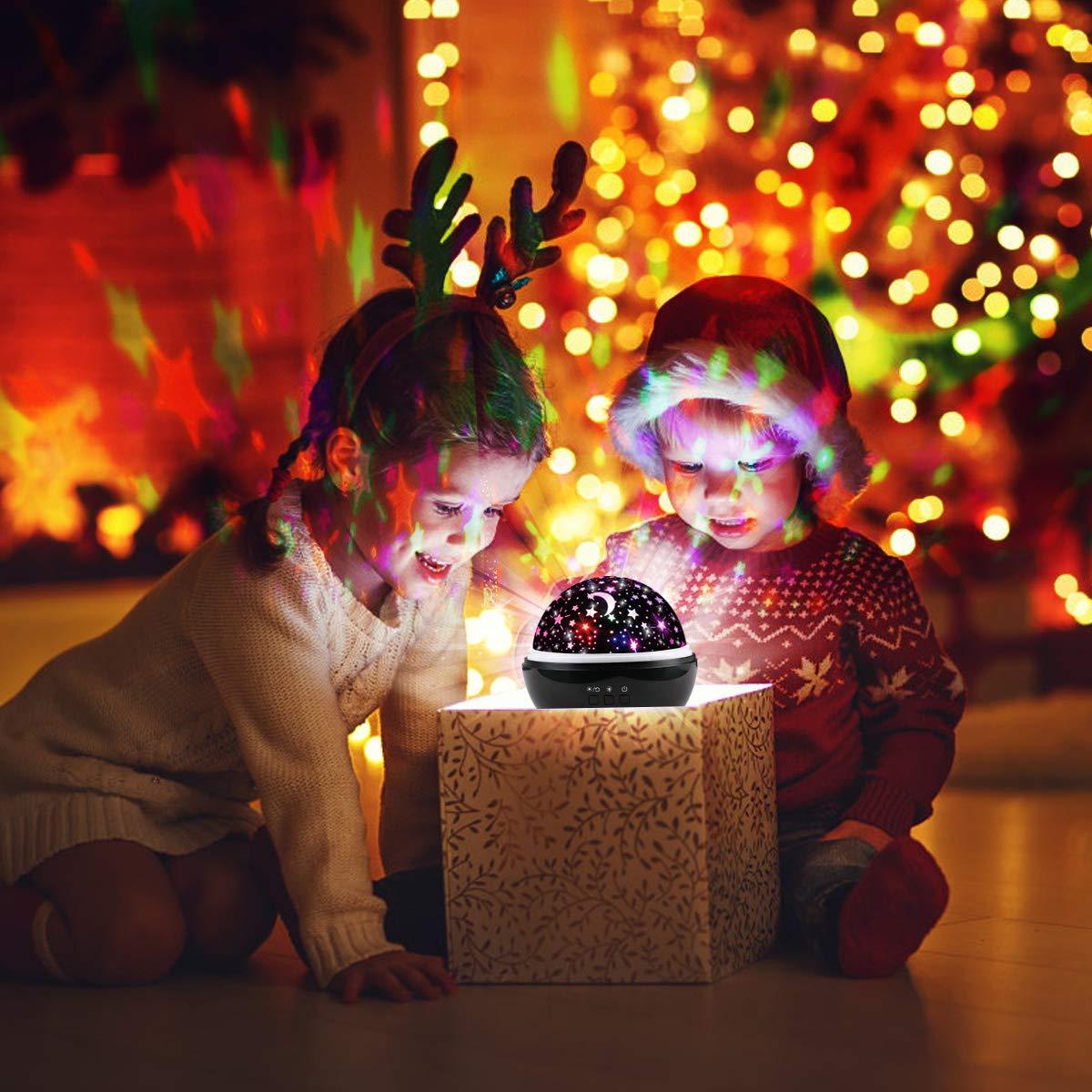 Star Light Night Proiettore Lampada, Sunvito 360 gradi che girano lampada proiettore romantico Stelle Moon Sky Proiettore per bambini, bambini, regali di Natale, camera per bambini, matrimonio, compleanno, vacanze (nero)