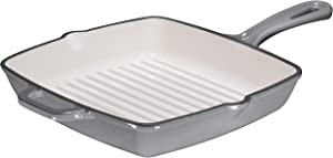 Bruntmor 10 Inch Square Cast Iron Grill Pan Skillet Grill Pan with Easy Grease Draining for Grilling Bacon, Steak, and Meats, Stove, Fire and Oven Safe For Camping Or Barbecue, Enameled Grey