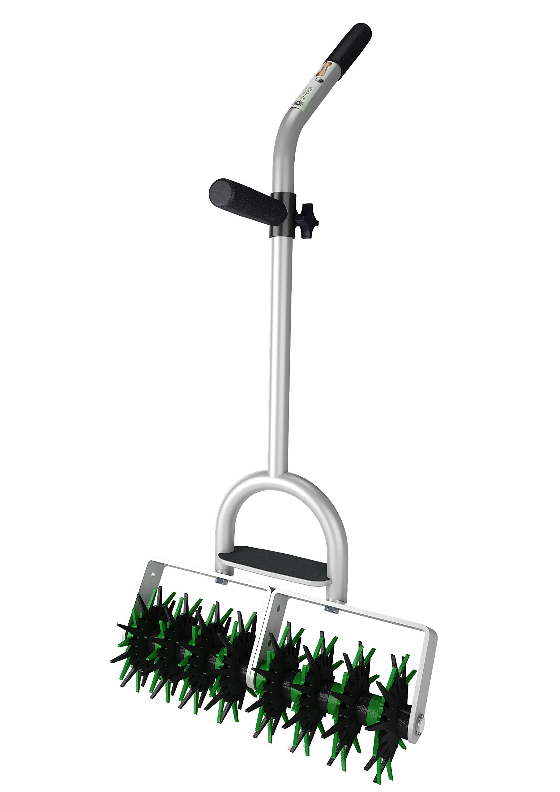 EnRoot Products Seed Stitcher Pro - Double Head- Easy Lawn Grass Garden Seed Planting Tool for Landscapers, Homeowners, Silver by EnRoot Products