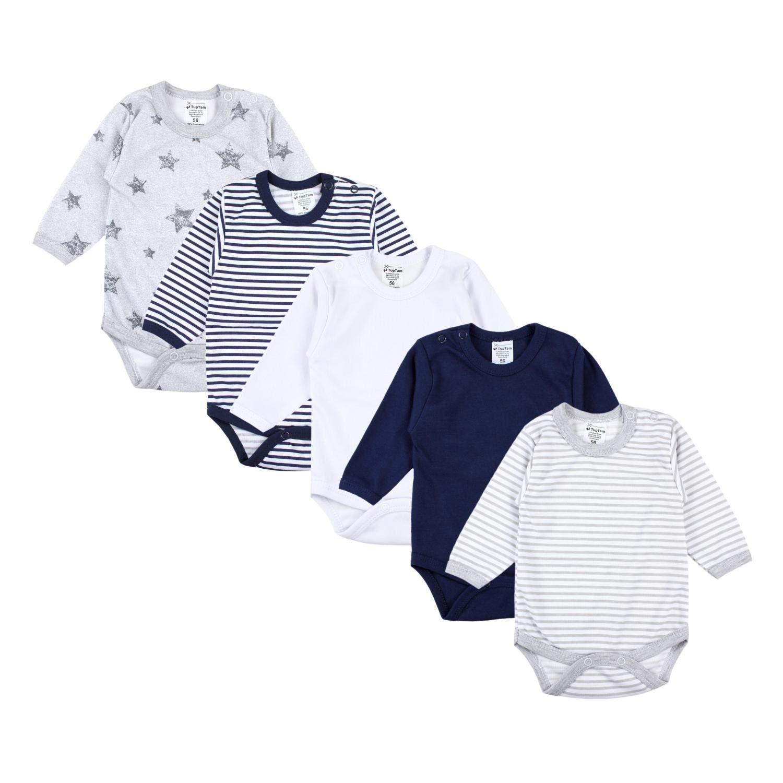 TupTam Unisex Baby Langarm Body Sterne Streifen Uni 5er Pack
