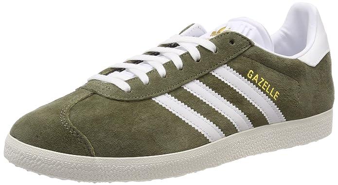 adidas Damen Gazelle Sneaker Grün (Raw Khaki) mit weißen Streifen