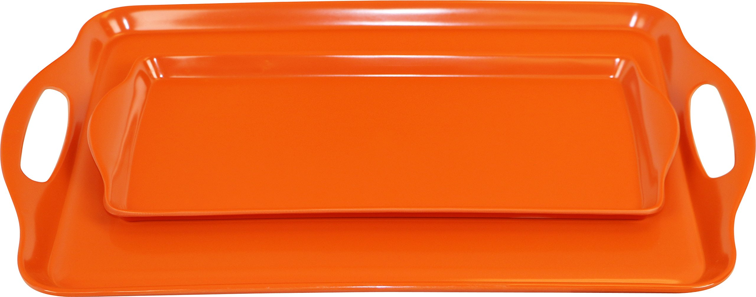 Calypso Basics Rectangular and Tidbit Serving Tray Set, Orange