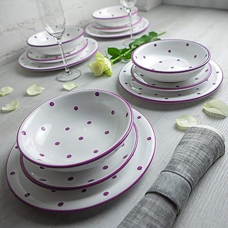 Amazon.com: City to Cottage - Vajilla de cerámica de 12 ...