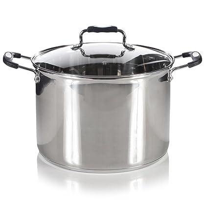 Royal cocina inducción profunda de acero inoxidable olla con tapa de ...