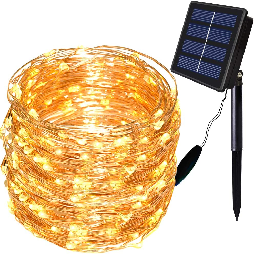 Solar String Lights Outdoor ,72Ft 200 LED Solar Fairy Lights 8 Modes Copper Wire Solar Powered Lights Fairy Garden Accessories Outdoor Decorative for Pathway Yard Patio (Warm White)