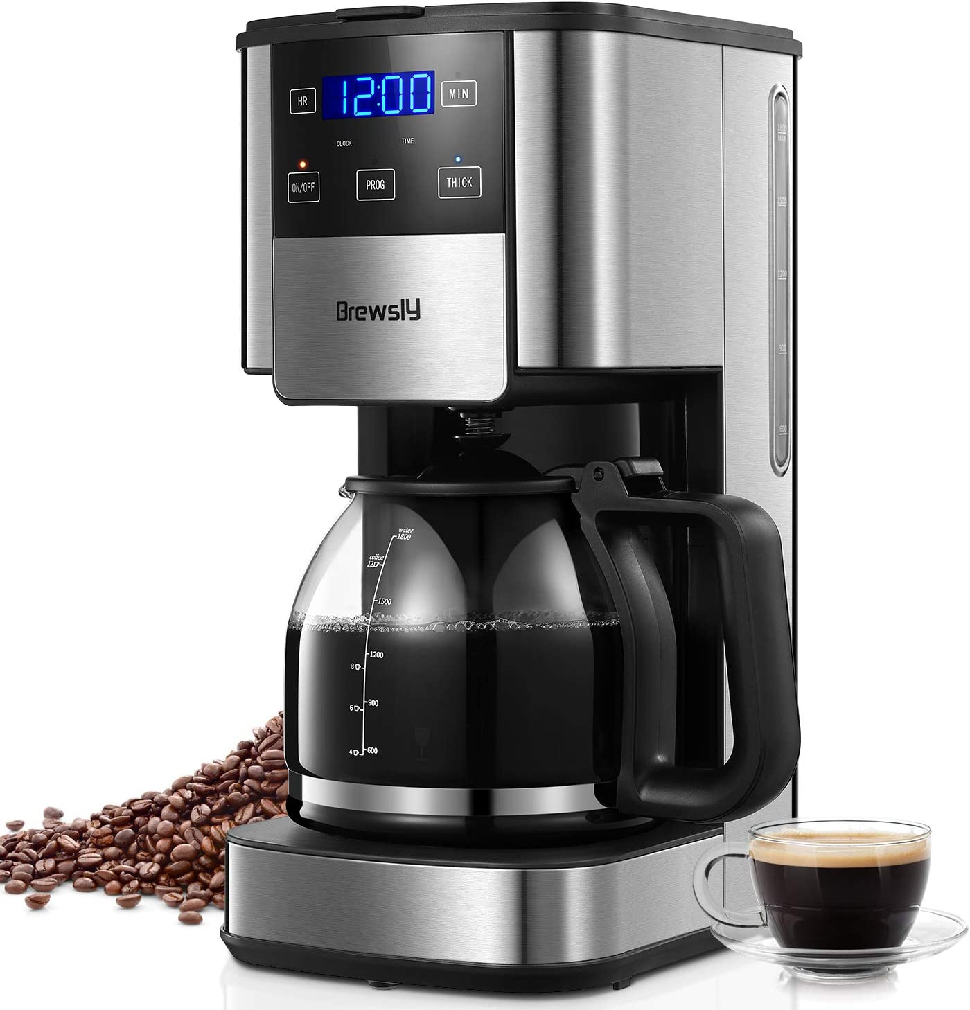 Brewsly 12-Cup Coffee Maker, Touch Screen Programmable Drip Coffee Machine with Regular and Thick Brews, Stainless Steel Coffee Brewer, Pause & Serve Function, Keep Warm 2 Hours, Anti-Drip System