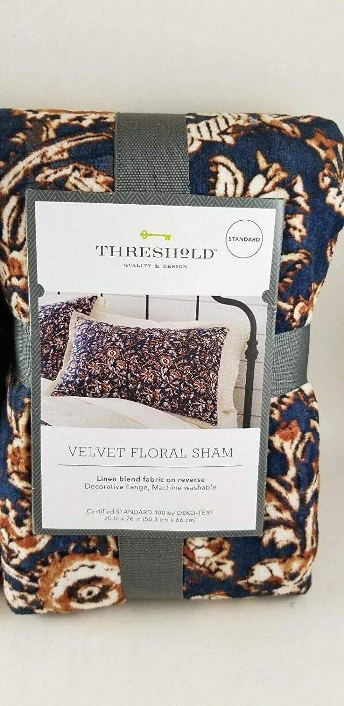 Threshold Navy Floral Print Velvet Sham  ~ Standard ~ Tufted with Flange