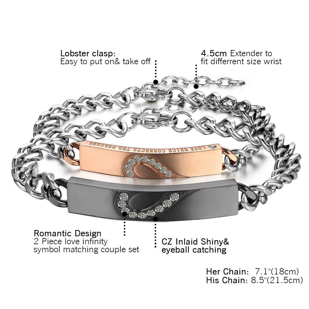 Paare Armbänder Edelstahl sein und ihr Liebe Herz Panzerkette Armreif Zirkonia