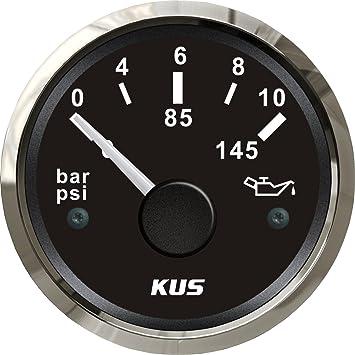 KUS Warranted Fuel Oil Pressure Gauge Meter 0-10Bar 0-145PSI with Backlight 12V//24V 52MM 2