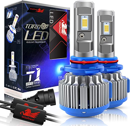 HIR2 8000lms 6000K White Projector Beam Plug-N-Play Fanless Replacement VehiCode 9012 LED Headlight Bulbs No Wire Conversion Kit High Power 6-Philips Zes LED 2 Pack