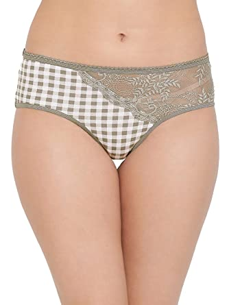 7e762bb56 Clovia Women s Cotton Mid Waist Checked Hipster Panty with Lace Panel   Amazon.in  Clothing   Accessories